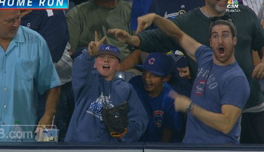 Cubs Fan Goes Crazy After Witnessing Kid Catch Kris Bryant ...