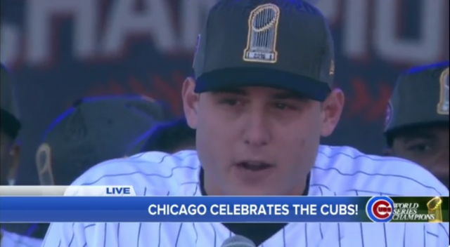 Anthony Rizzo Cries Introducing David Ross At Cubs' World Series Parade
