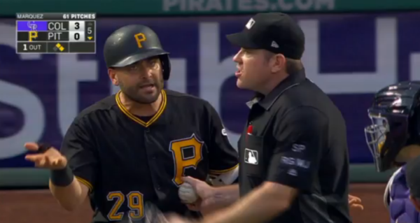 Rockies and Pirates Benches Clear After Francisco Cervelli Is Hit By Pitch